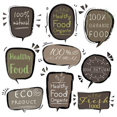 Conjunto de productos de banner ECO, alimentos naturales, veganos, orgánicos, frescos y saludables. Ilustracion vectorial vector