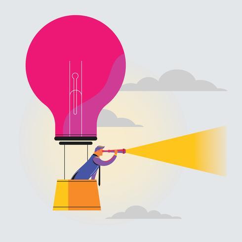 Affärsman söker marknaden med kikare på Hot Air Balloon med glödlampa visuellt - Marketing Concept vektor