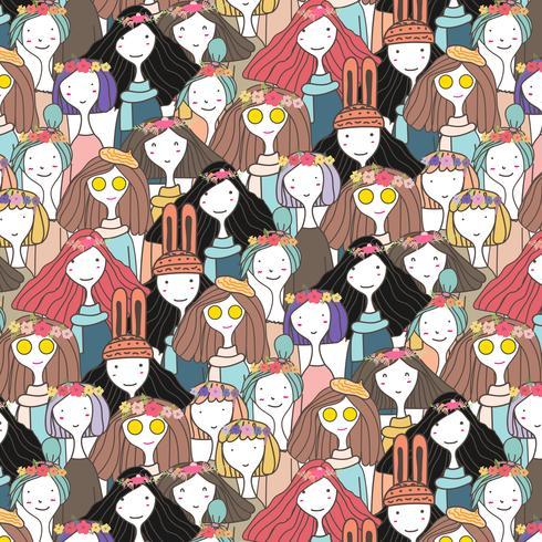 Söt tjejer karaktär mönster bakgrund, Vektor illustration.