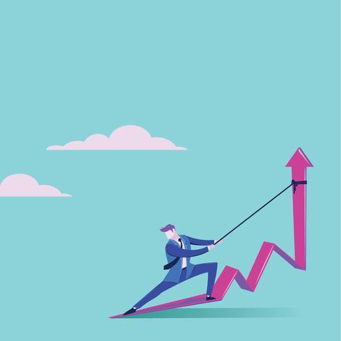 Geschäftsmann, der Pfeil hochhält und ihn für Unternehmensziele steigt