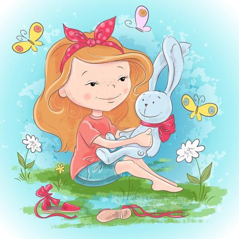 Menina de cartão postal com uma lebre de brinquedo e borboletas. Mão, desenho, vetorial, ilustração