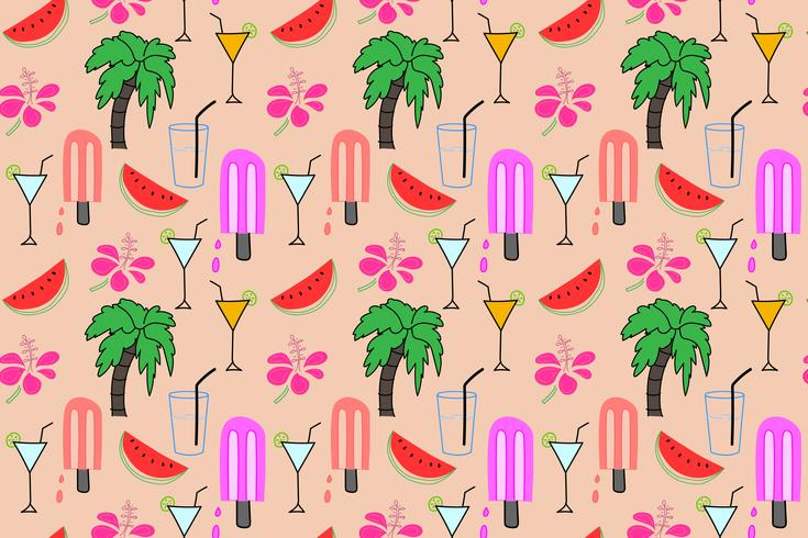 Summer pattern background, Tropical flamingo pattern, Vector illustration.