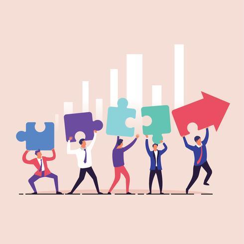 Equipo de negocios construyendo un gráfico de flecha de rompecabezas para el concepto de éxito