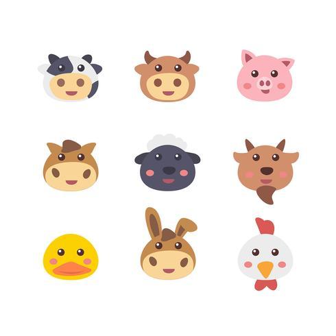 Farm Pet Animal Faces Set vector