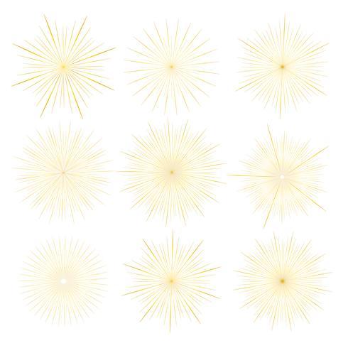 O grupo de estilo dourado do sunburst isolado no fundo branco, estourando irradia a ilustração do vetor. vetor