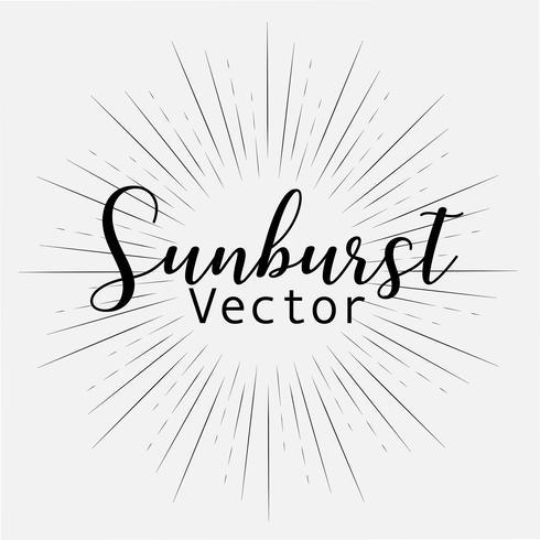 O estilo do Sunburst isolado no fundo branco, estourando irradia a ilustração do vetor. vetor