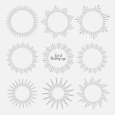 Set of sunburst style isolated on white background, Bursting rays vector illustration.