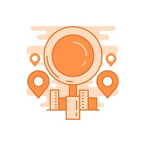 Trovaci l'illustrazione Concetto di linea piatta progettato con colori arancioni, per applicazioni mobili o altri scopi