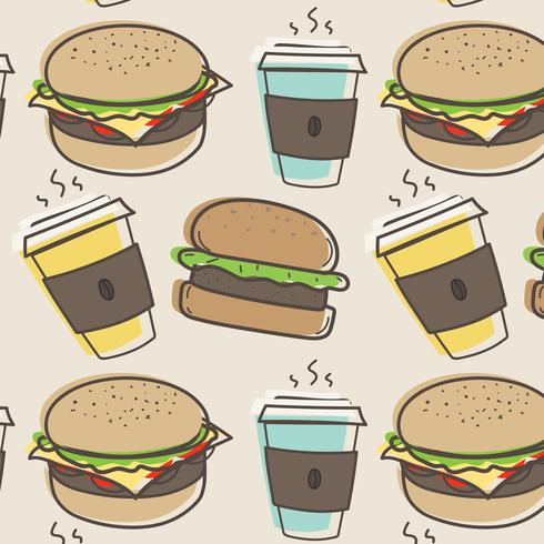 Hand drawn fast food and burgers pattern background. Vector Illustration.