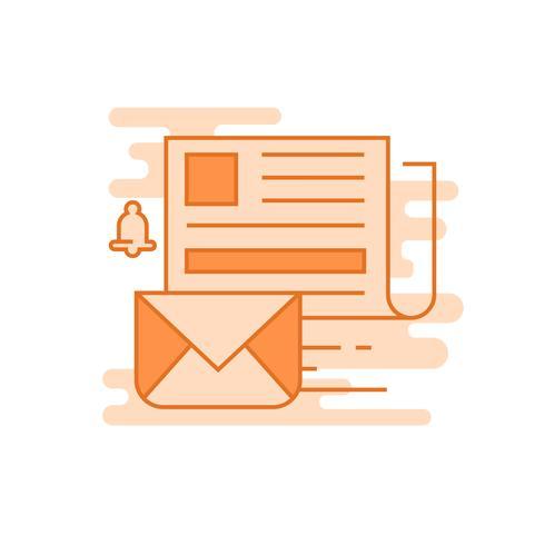 Newsletter Abbildung. Flache Linie gestaltete Konzept mit orange Farben, für bewegliche apps oder andere Zwecke