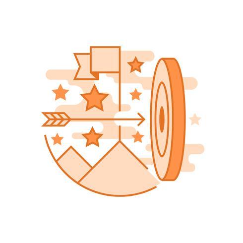 Ilustração da missão. Conceito de linha plana projetado com cores laranja, para aplicativos móveis ou outros fins