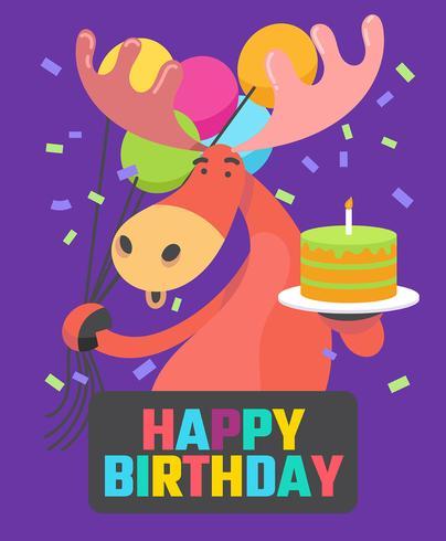 Feliz aniversário animais vetor