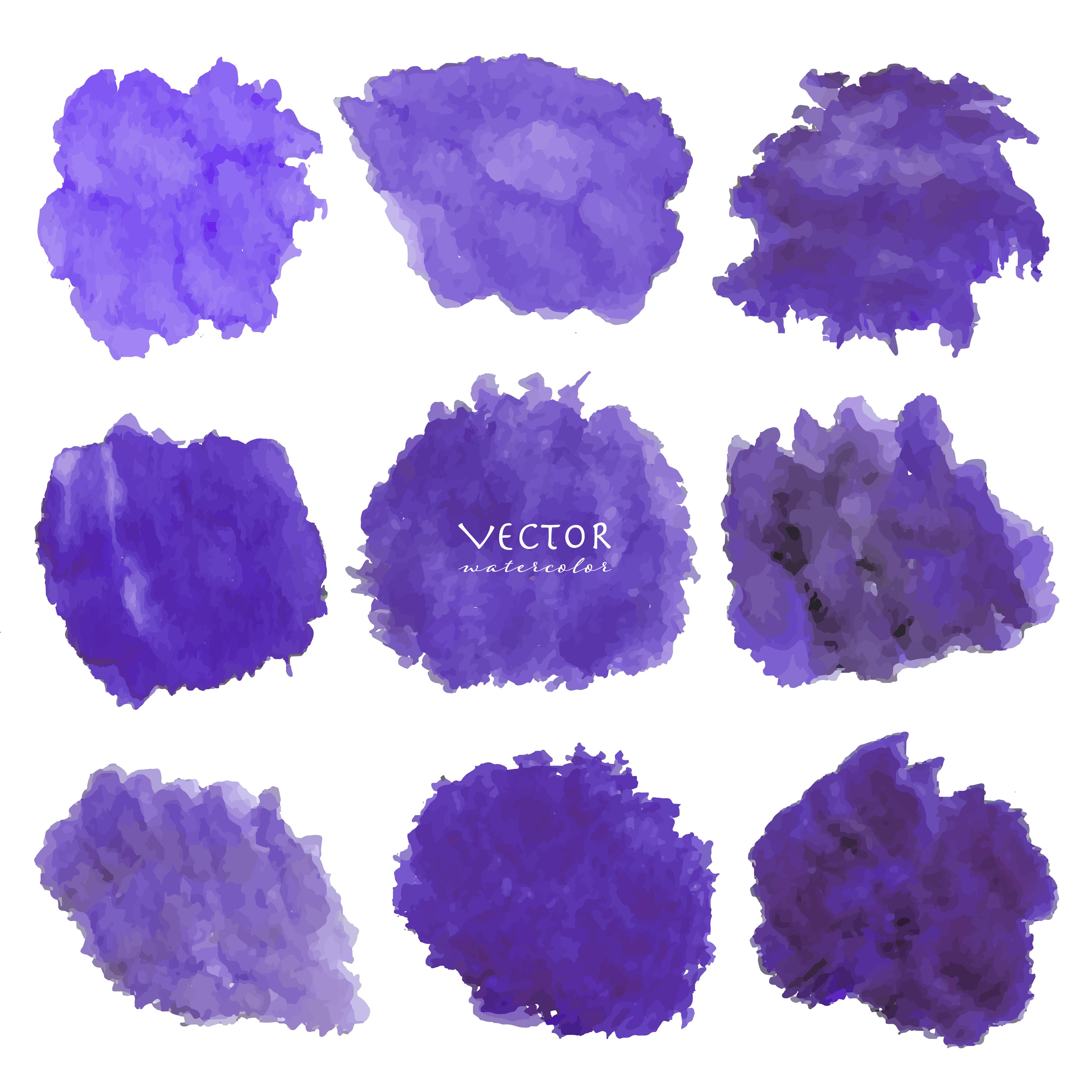 Set Of Purple Watercolor On White Background, Brush Stroke