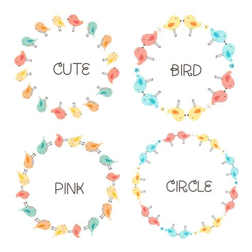Vector Set Of Cute Bird Round Frames For Decoration. Vector Illustration.