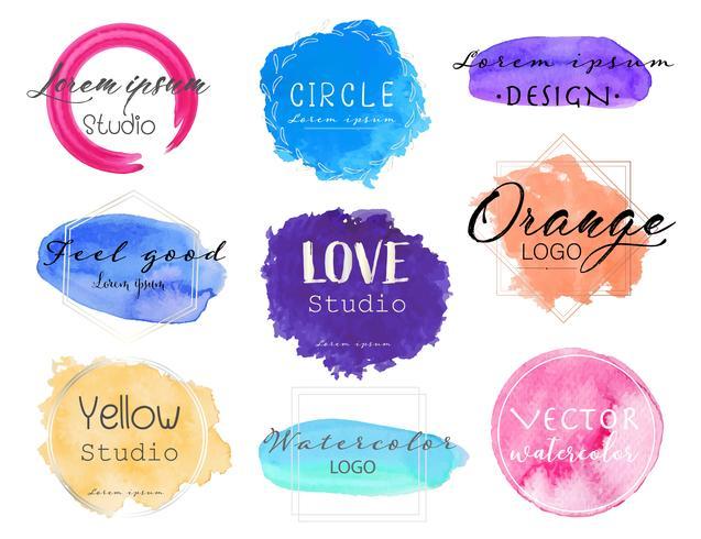 Watercolor logo set, Feminine logo design set, Colorful vector Illustration.