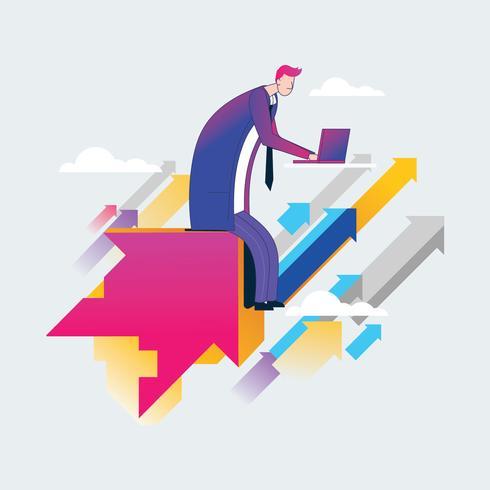 Sucesso, empreendedores, e, homem negócios, alcançar, objetivos, conceito vetor