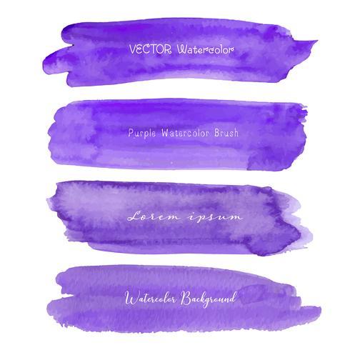 Sistema de acuarela púrpura en el fondo blanco, acuarela del movimiento del cepillo, ejemplo del vector.