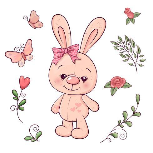 Conjunto de coelhinho e flores. Desenho à mão. Ilustração vetorial