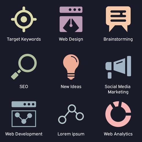 Bedrijfs en technologie die donkere pictogrammen op de markt brengen. SEO, internet marketing en analyse thema van gekleurde pictogrammen