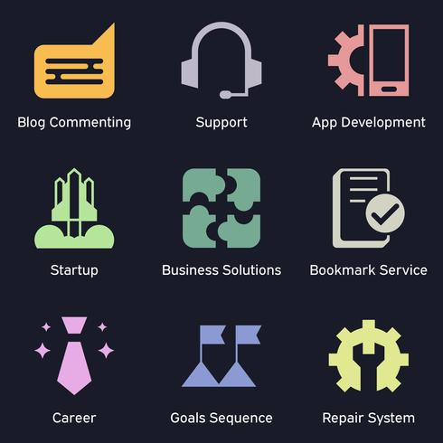 Business and technology marketing dark icons. SEO, internet marketing and analysis theme of colored icons