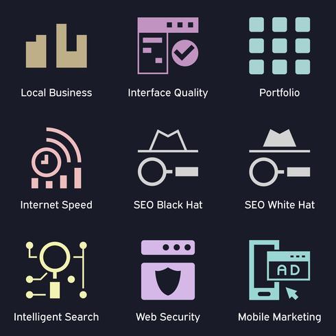 Negócios e tecnologia de marketing ícones escuros. SEO, marketing na internet e análise de tema de ícones coloridos