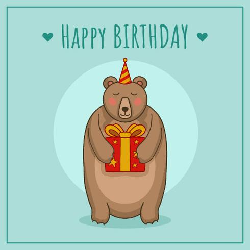 Birthday With Bear Vector