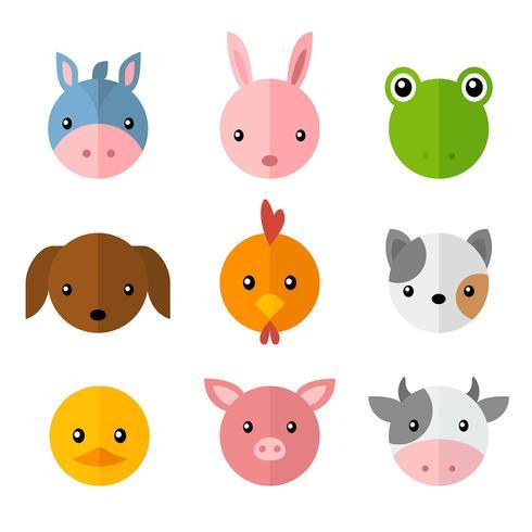 Pet Dier Eenvoudige Cartoon gezichten Set
