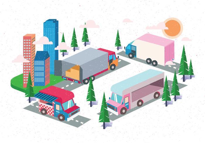 Isometric Transportation Clip Art Set Vol 3 Vector