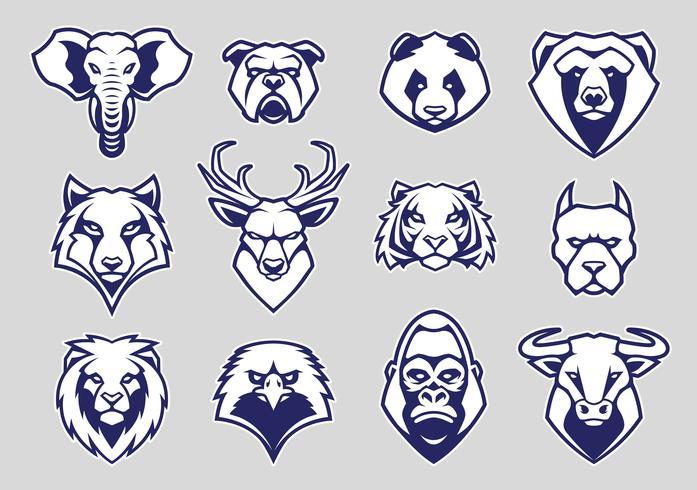 Animales cabeza mascota iconos conjunto de vectores