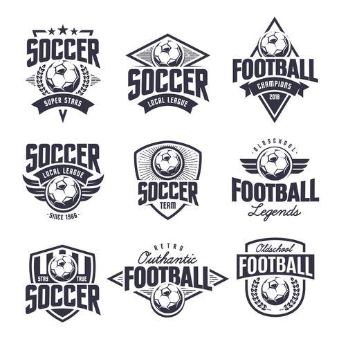 Conjunto de emblemas de vectores de fútbol clásico