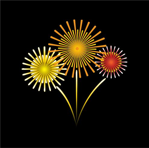 vector of cartoon style fireworks on black sky