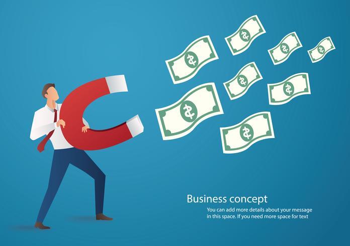 concept d'entreprise. homme d'affaires attirant l'icône de l'argent avec une illustration de vecteur grand aimant