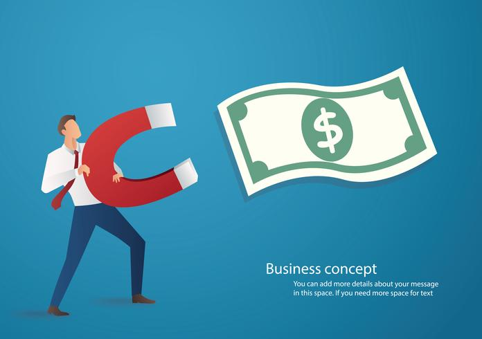 concetto di business. uomo d'affari che attira l'icona dei soldi con una grande illustrazione di vettore del magnete