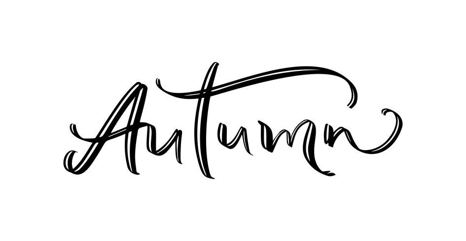 Höstens underlandtext, handtecknad penselbokstäver. Holiday hälsningar citat isolerad på vitt. Perfekt för kort, presentkort och etiketter, fotoöverlagringar
