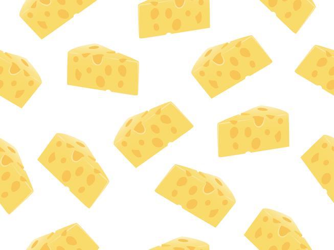 Patrón sin fisuras de la rebanada de queso sobre un fondo blanco