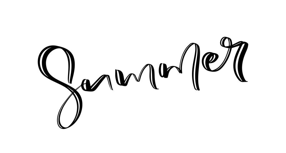 Hand drawn lettered text Summer. Calligraphic season inscription. Vector handwritten typography
