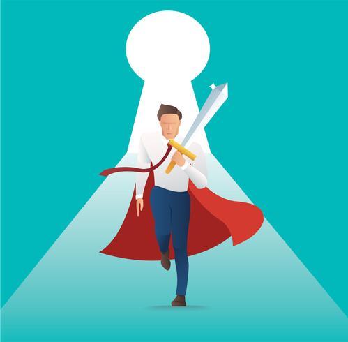 affärsman konflikt aggressivt hållande svärd med nyckelhål, dörren till affärsframgång