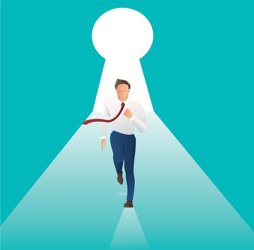 businessman running with key hole the door to business success