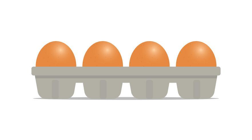 Verse kippeneieren in pakket dat op witte achtergrond wordt geïsoleerd - Vectorillustratievoedsel