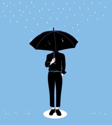 Mannen houden paraplu's in het regenseizoen. Doodle kunst concept, illustratie schilderij