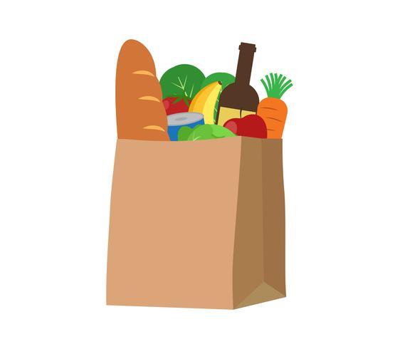 Prodotti alimentari freschi e bevande in un sacchetto di carta - illustrazione vettoriale