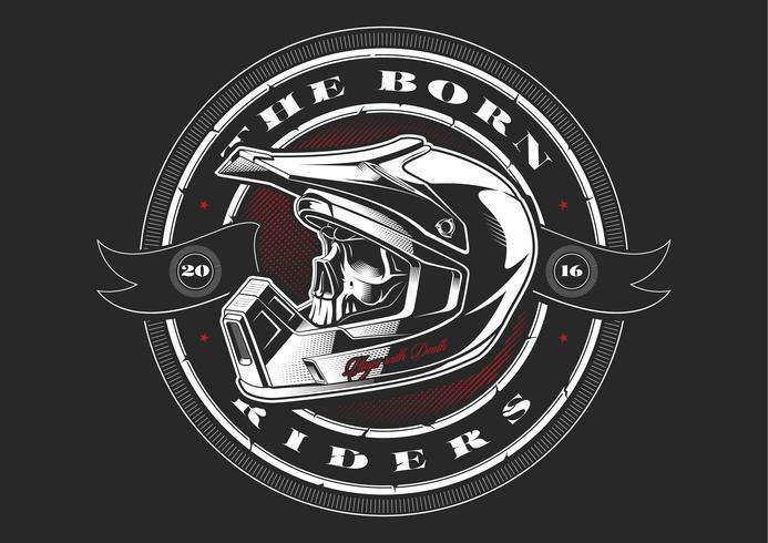 Biker cráneo en casco vector