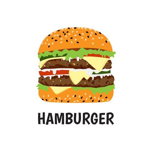 Grande manzo e formaggio dell'hamburger grande su fondo bianco - Vector l'illustrazione