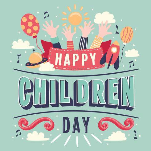 Children's day Hand Lettering vector background. Happy Children's Day. Happy children's day colorful card with children's hands balloon sun - Vector Illustration