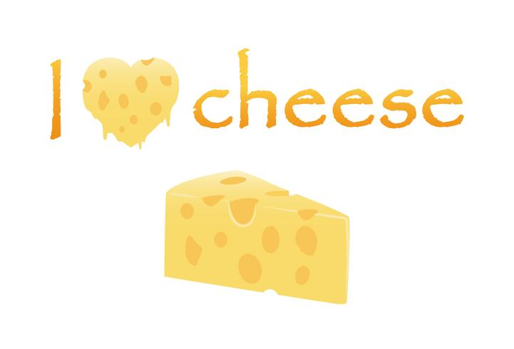 I love Cheese with heart cheese melt and slice isolated on white background -  Vector Illustration of cheese love concept