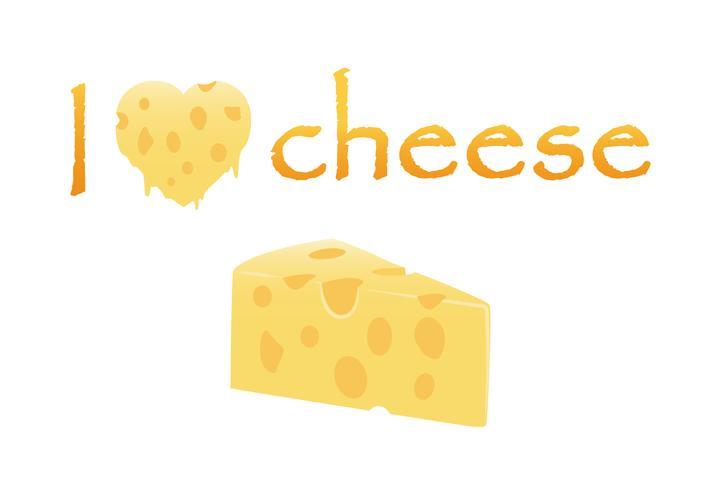 Amo il formaggio con formaggio fuso cuore e fetta isolato su sfondo bianco - Illustrazione vettoriale di formaggio concetto di amore