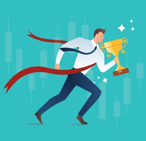 ilustração do empresário correndo segurando o conceito de troféu para o sucesso