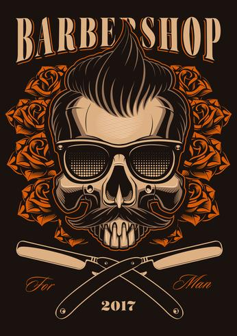 Barber skull with roses vector