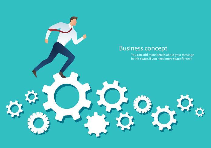 businessman running over machine gear wheel cog wheel showing work life action strategy vector