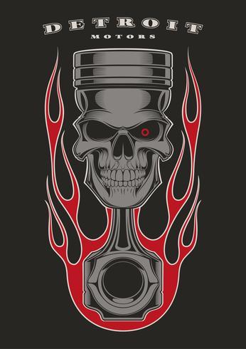 Skull piston biker emblem.